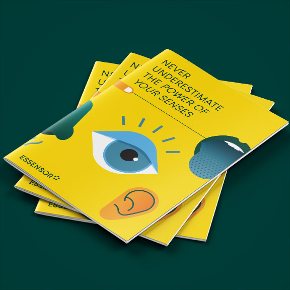 Essensor Brochure Never Underestimate The Power Of Your Senses cover ontwerp